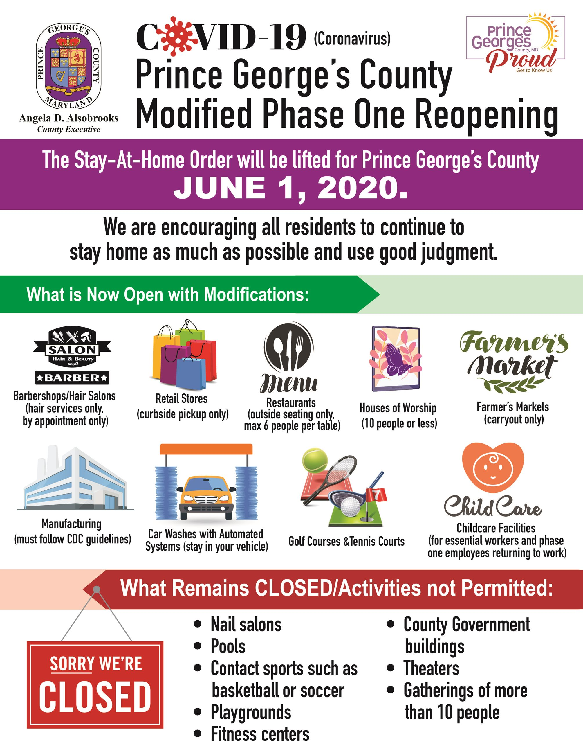 PG County Phase 1 Reopening